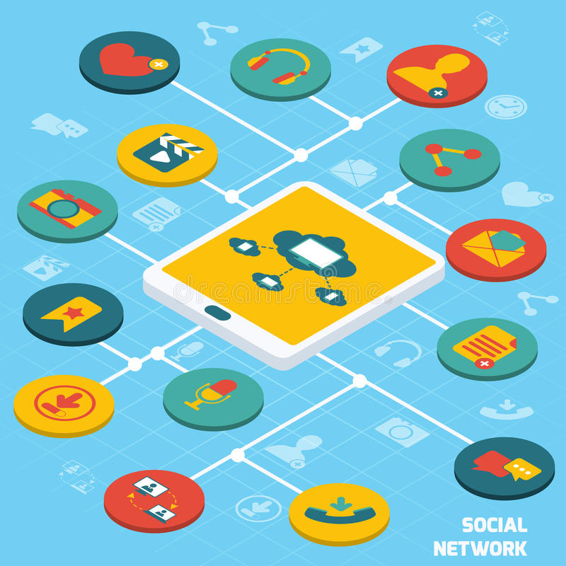Social network isometric. Social network concept with tablet and isometric application buttons set vector illustration vector illustration