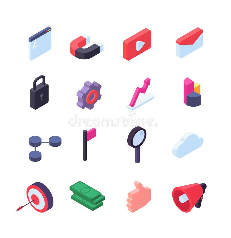 Social network isometric icons. Media and seo marketing web buttons vector collection isolated vector illustration