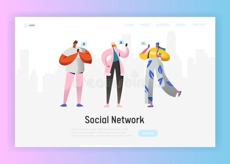 Social Network Landing Page Template. Young People Characters Chatting Using Smartphone for Website or Web Page. Virtual Communication Concept. Vector royalty free illustration