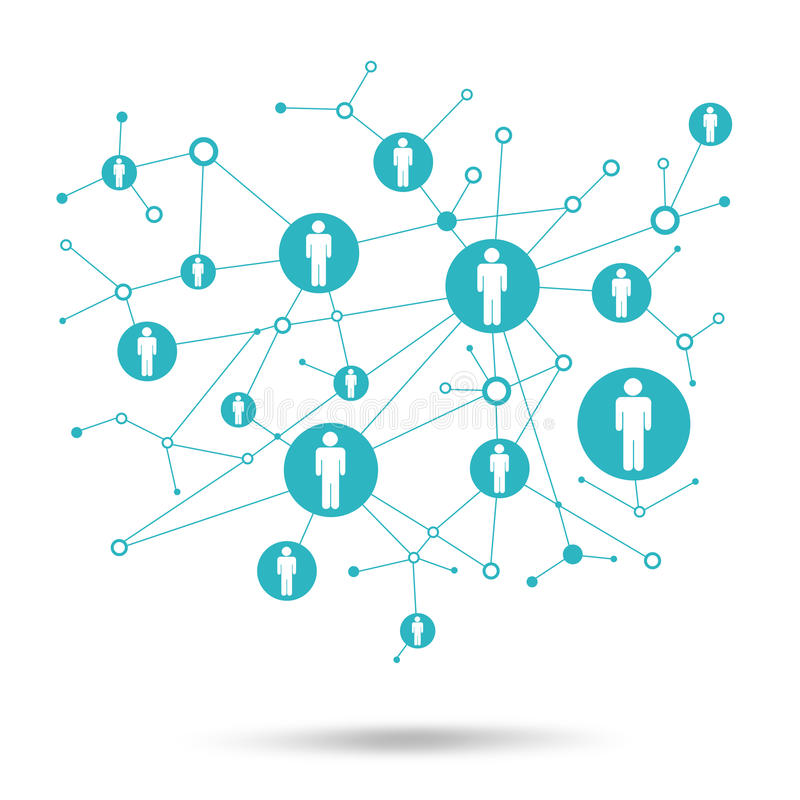 Social network. In lattice points are people icons. Social network. In the lattice points are people icons. White background stock illustration