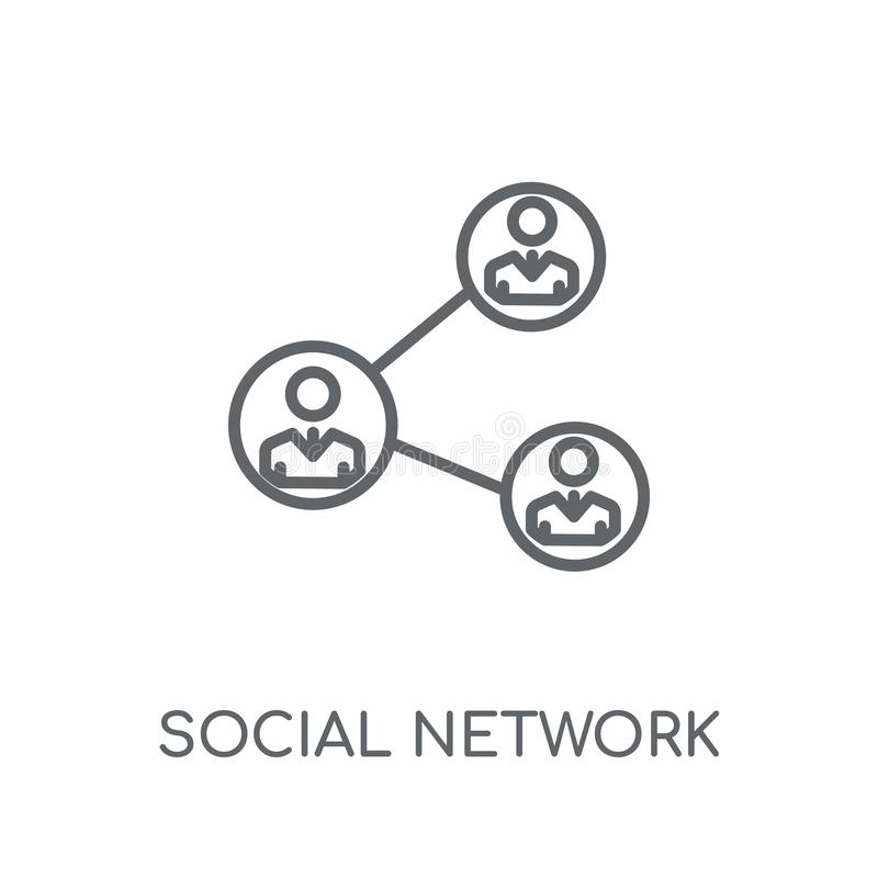 Social network linear icon. Modern outline Social network logo c. Oncept on white background from Marketing collection. Suitable for use on web apps, mobile apps royalty free illustration