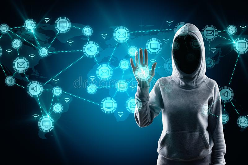 Social network and malware concept. Hacker with glowing connections on blue digital map royalty free stock images