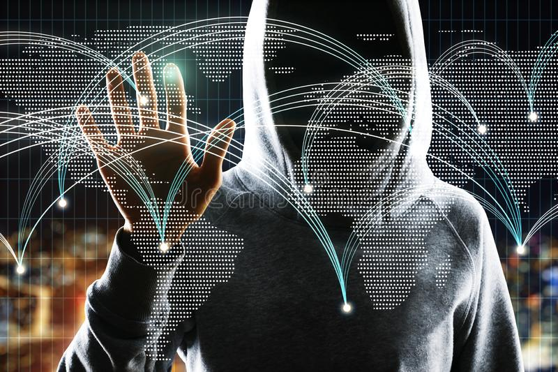 Social network and malware concept. Hacker hand using glowing map with connections on blurry night city background. Social network and malware concept. Double stock image