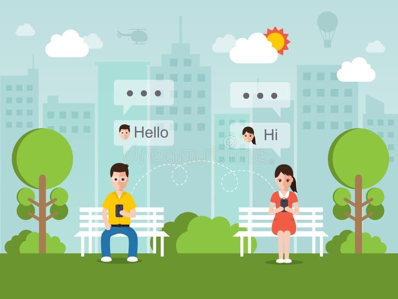 Chatting online via social network. Man and woman chatting online on social network with smartphone vector illustration