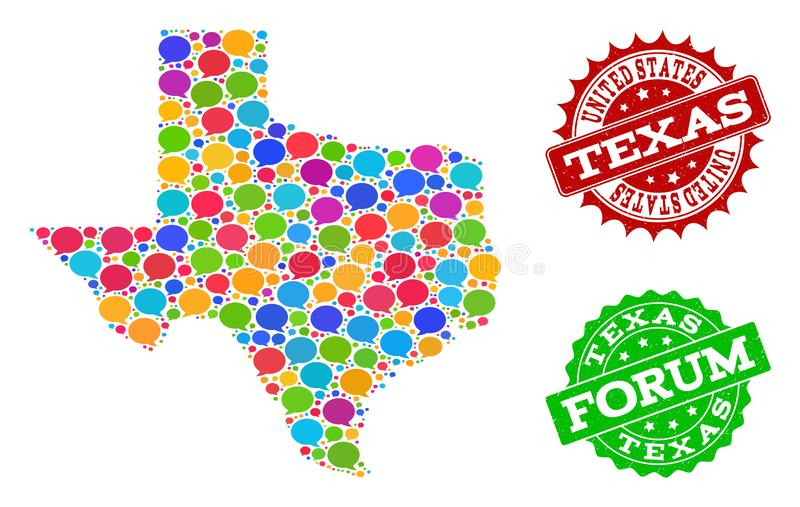 Social Network Map of Texas State with Speech Bubbles and Grunge Stamps. Social network map of Texas State and rubber stamp seals in red and green colors. Mosaic royalty free illustration