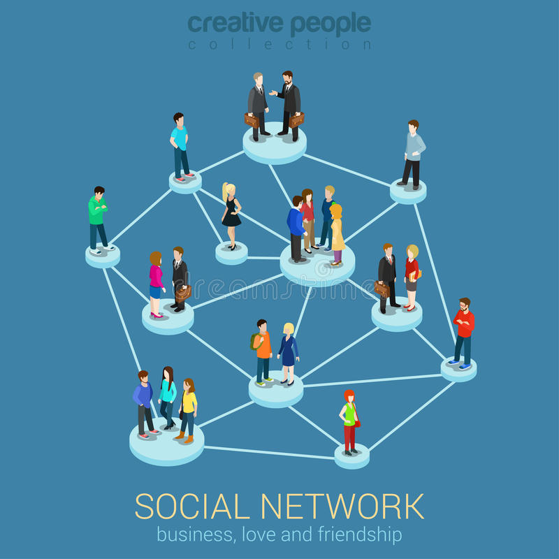 Social network media communication information sharing flat 3d royalty free illustration