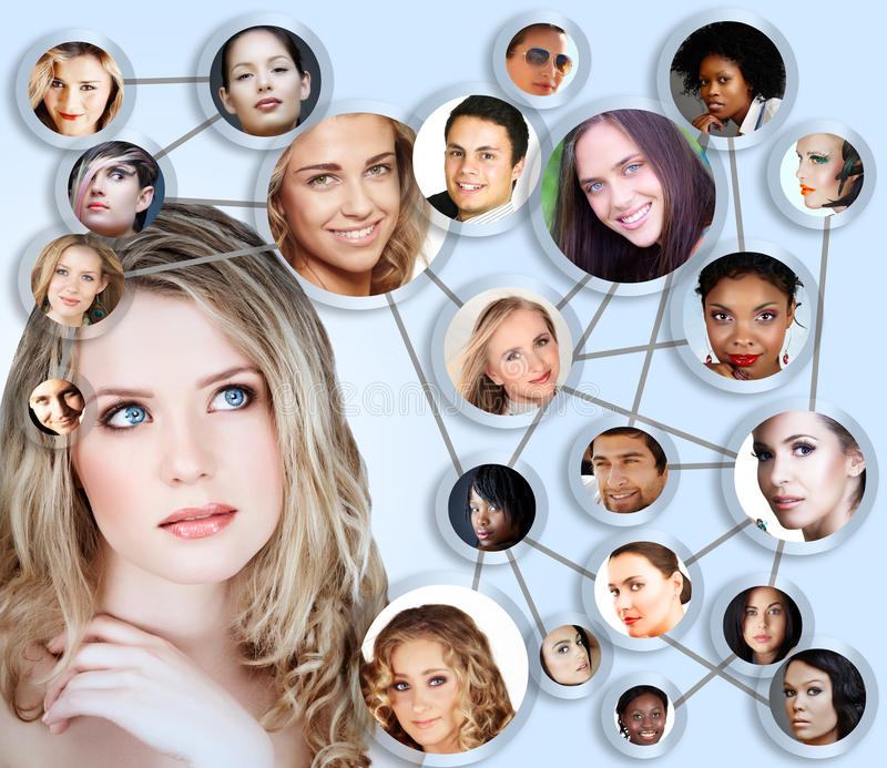 Social Network Media Concept Collage Stock Images
