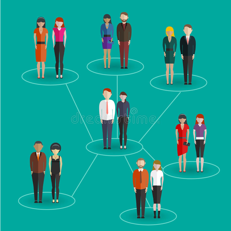 Social network media global people communication information sharing flat web infographic concept vector. Pedestals connection bu vector illustration