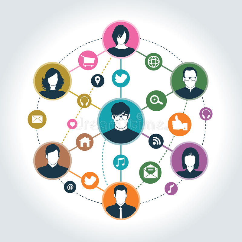 Social network. With social media icon & group of people royalty free illustration