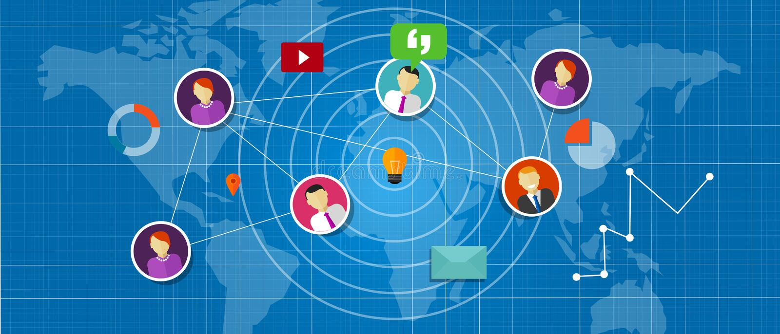 Social network media interconnected people around the world. Globe stock illustration