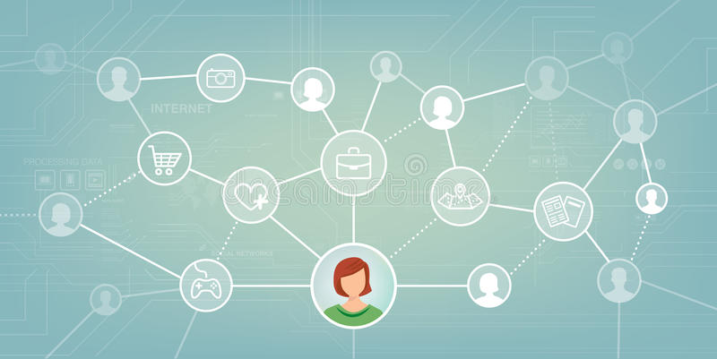 Social network. Social media network with male and female avatars and web icons set vector illustration