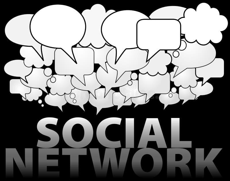 SOCIAL NETWORK media speech bubble cloud. A cloud of SOCIAL NETWORK media speech and thought bubbles as symbol of communication stock illustration