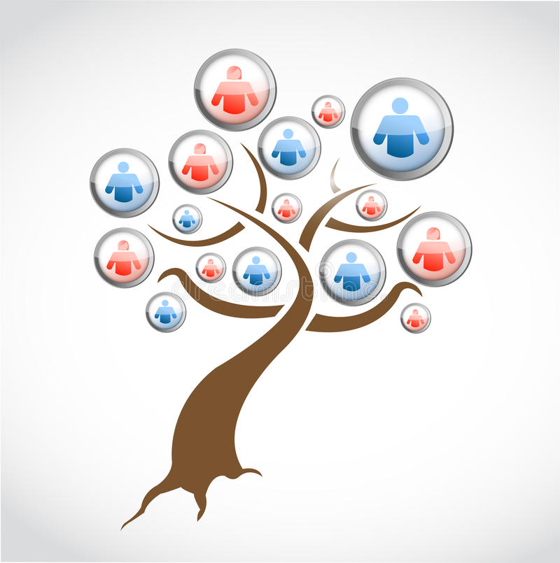 Social network media tree illustration design royalty free illustration