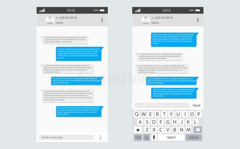 Social network Messenger concept frame Vector illustration. Mobile ui kit messenger. Chat app template whith mobile keyboard. Social network concept. Vector royalty free illustration
