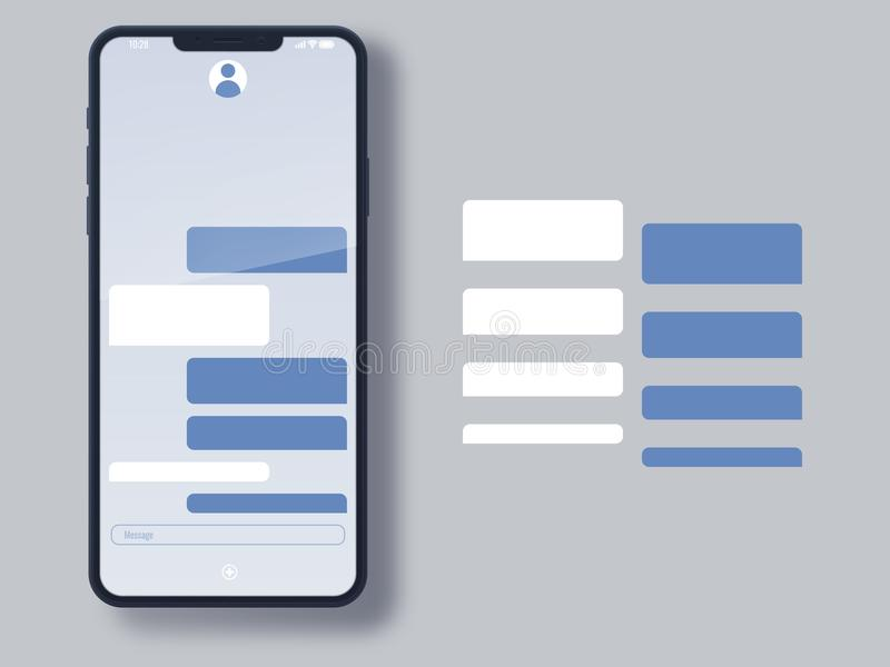 Social network messenger page template. Business and private communication service. Chat and social networking empty window royalty free illustration