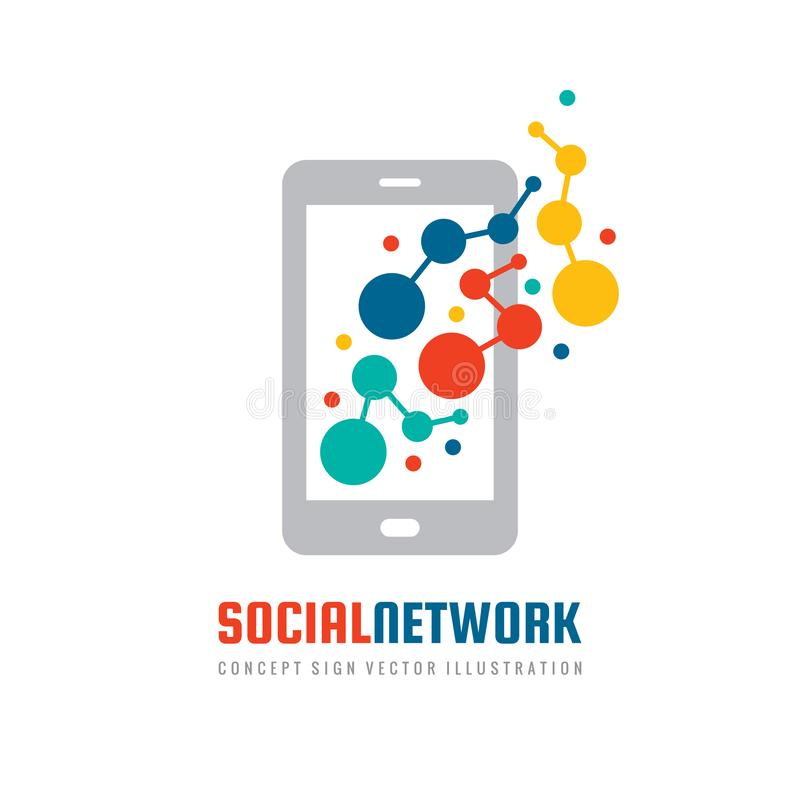 Social network mobile application smart phone - concept vector business logo template. royalty free illustration