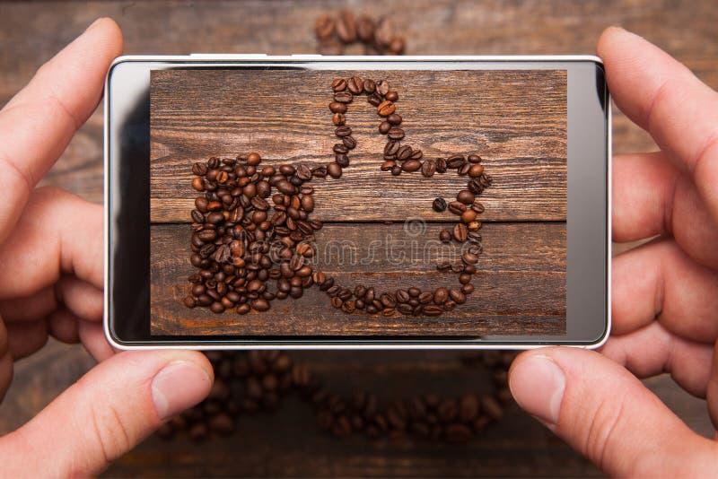 Social network. Mobile food photography. stock photos