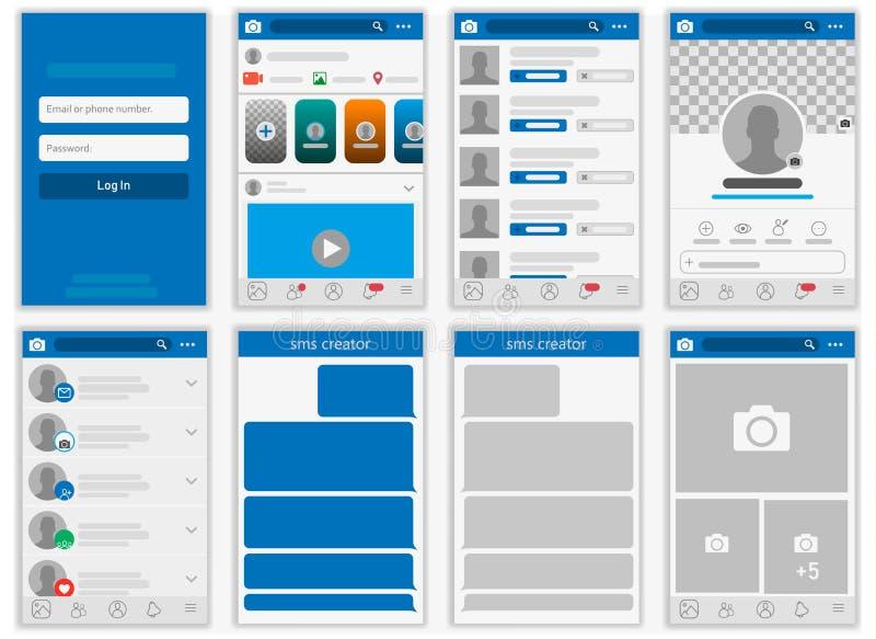 Social network Mock up, post frames and other pages vector illustration. Social network Mock up, post frames and other pages vector illustration stock illustration