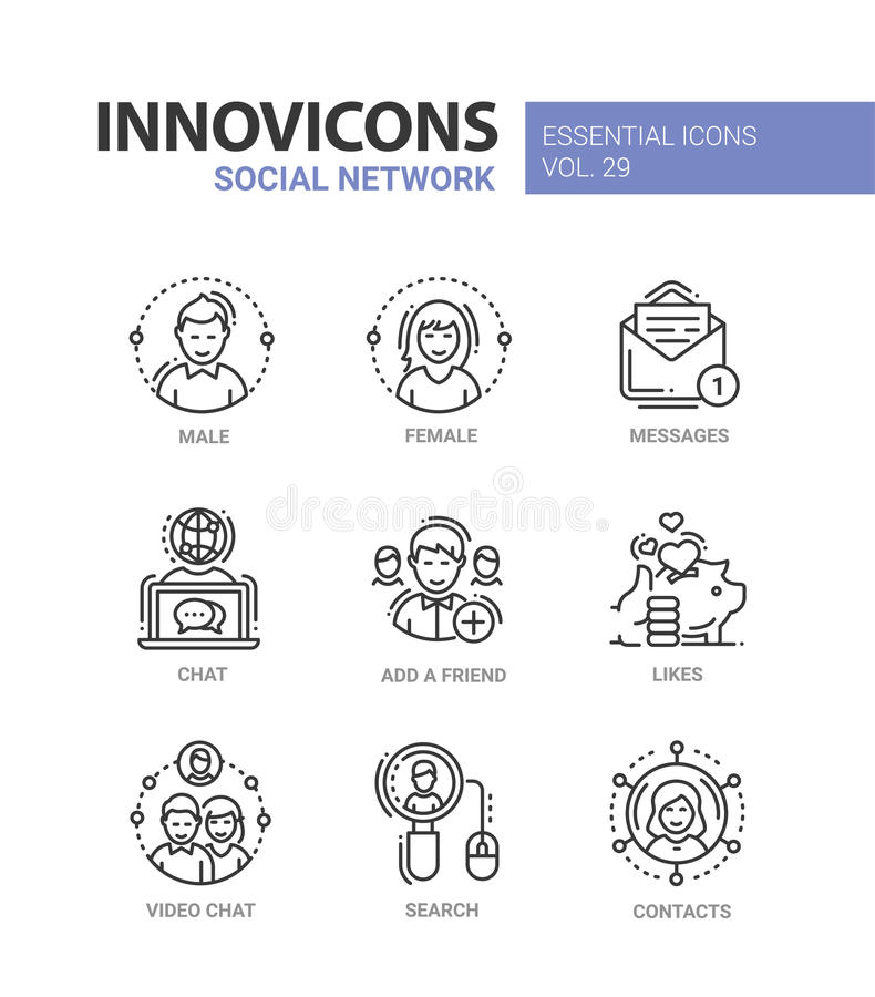Social Network - modern vector line icons set. Social Network - modern color vector single line icons set. Male, female person, message, text, letter, chat vector illustration