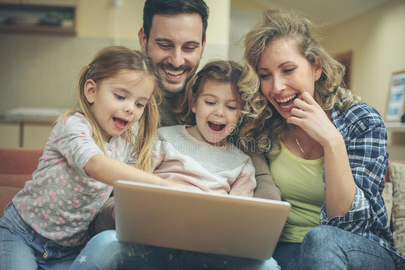 Social network occupied my family. stock photo