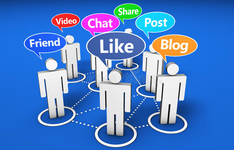 Social Network Online Media Community. Social network and social media online web community concept with 3d people and Internet words signs on colorful speech royalty free illustration