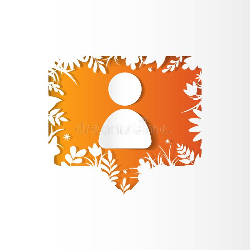 Social network icon new follower, paper cut style. Social network orange icon follower, new subscriber with white plants, grass, leaves and flowers, paper cut royalty free illustration
