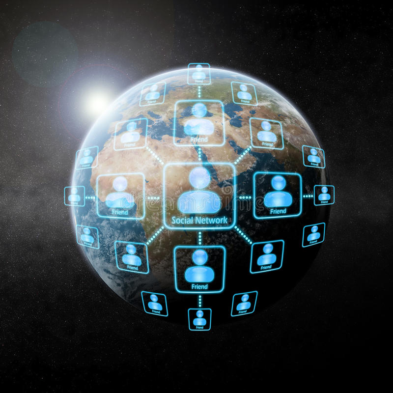Social network over the world. Made with photoshop CS4 stock illustration
