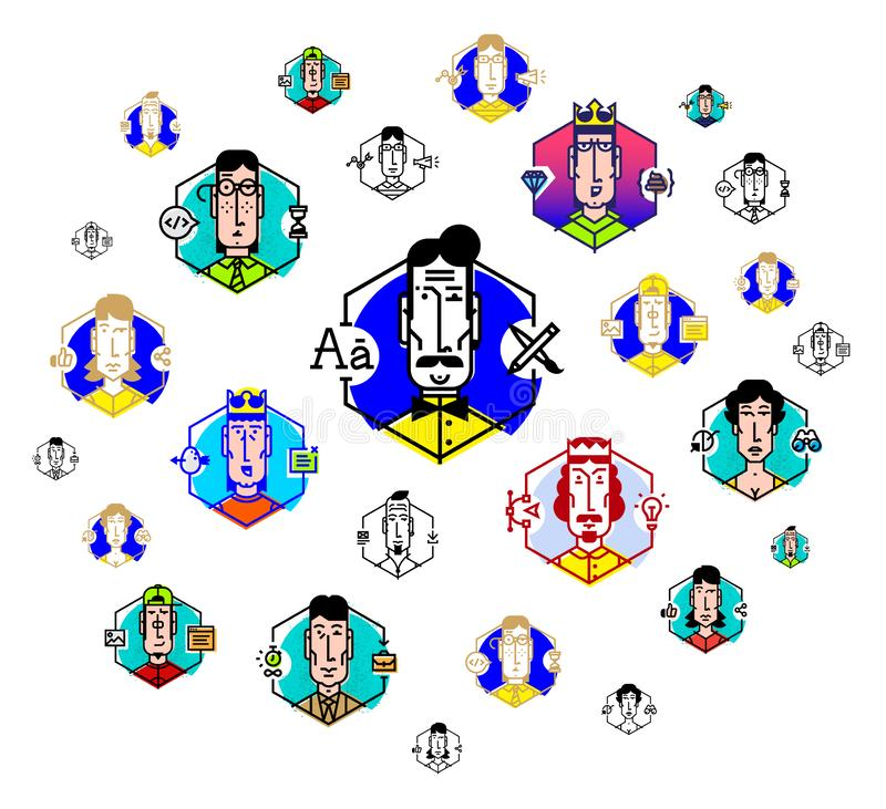 Social network, people communicate. Vector flat illustration. The icons are isolated on a white background. People of the. Profession. Boss, director, chief and stock photography