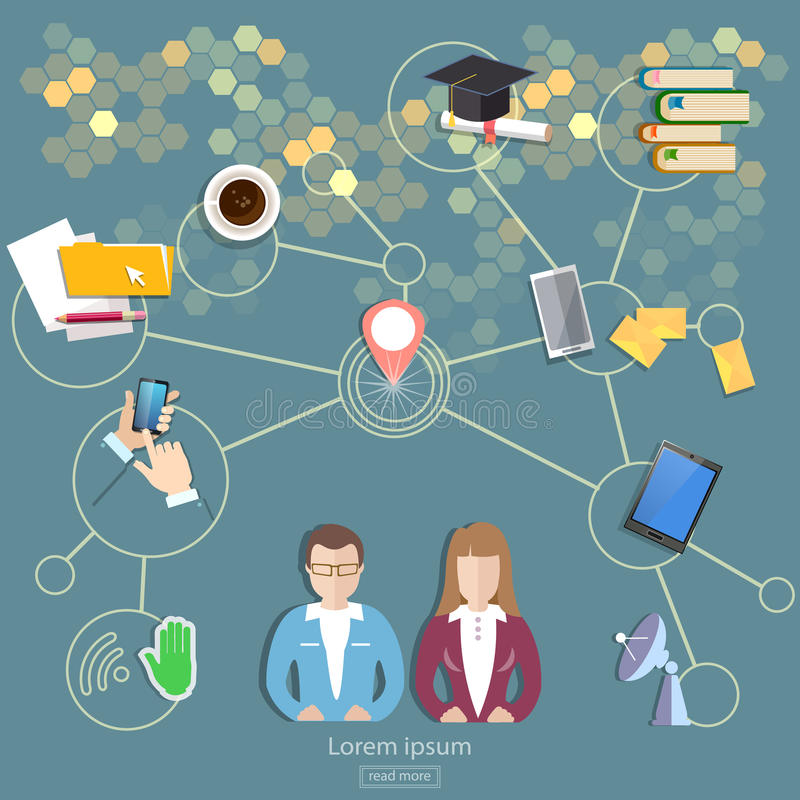 Social network, people communication concept. Social network and teamwork people communication concept royalty free illustration