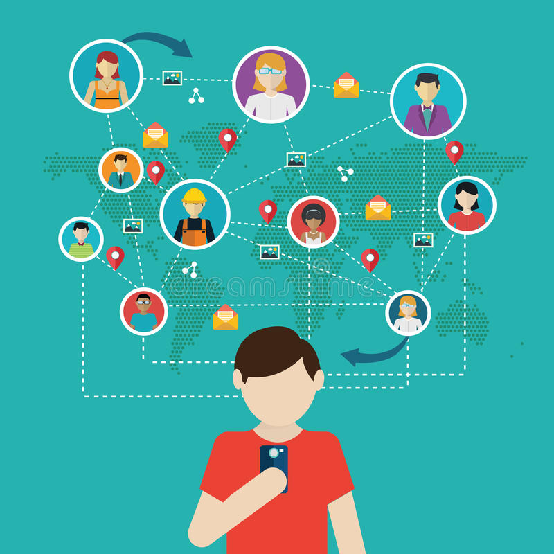 Social network, people connecting all over the world.  royalty free illustration