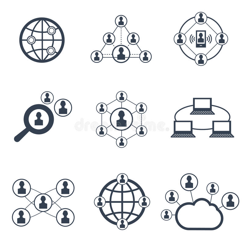 Social Network With People Symbols Vector Icons Set Stock Vector