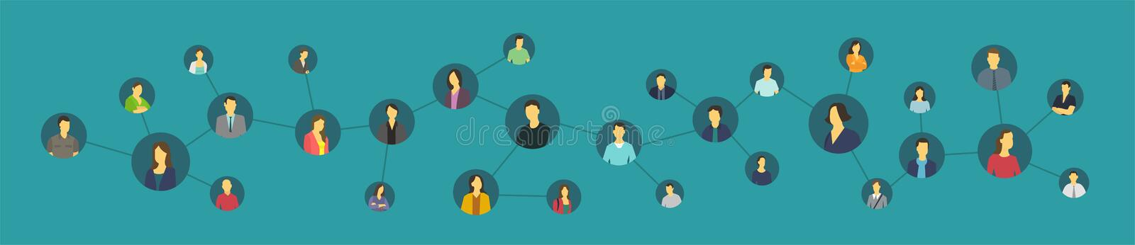 Social network person. United ties avatars. Social network. United ties avatars. Friends or colleagues on the Internet. Circle of acquaintances stock illustration