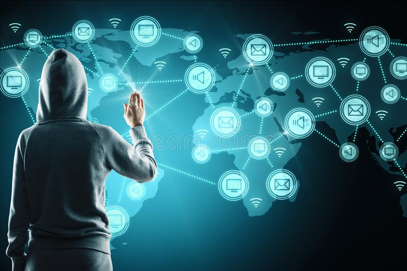 Social network and phishing concept. Hacker with glowing connections on blue digital map stock image
