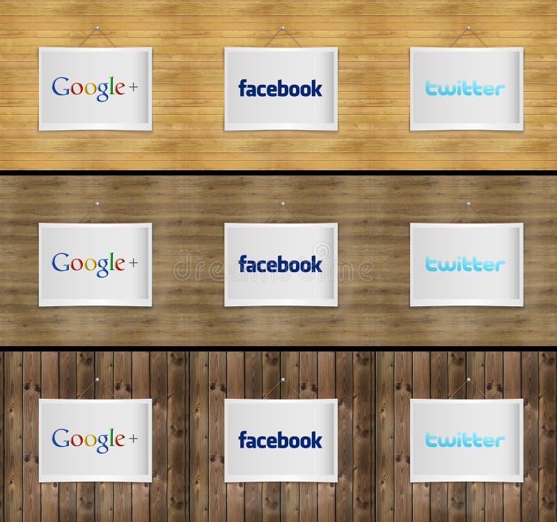 Social network on photo frame stock illustration