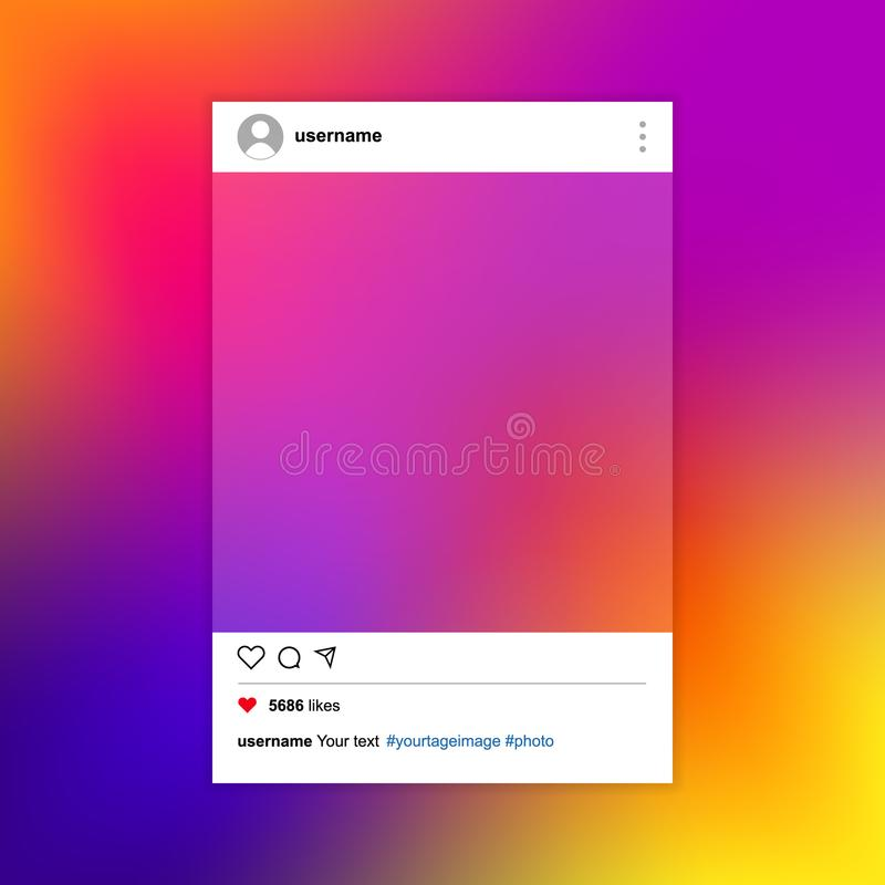 Social network photo frame on a colorful background. Vector illu royalty free stock image