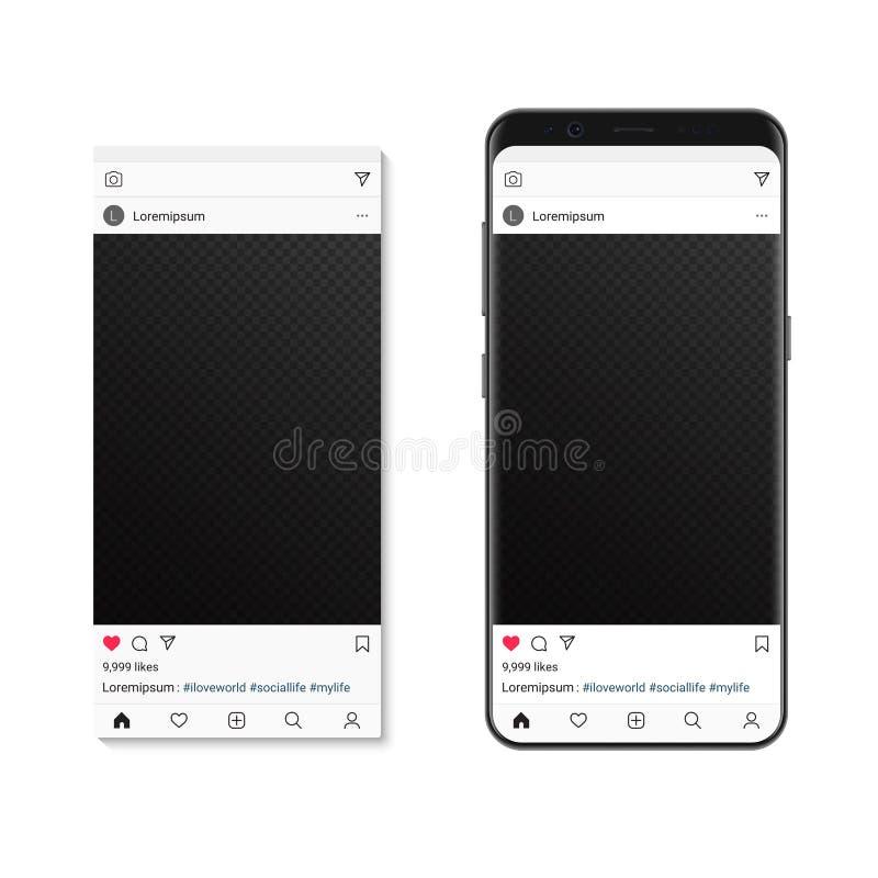 Social network pictire post on smartphone screen. Vector Mockup social photo frame composer. royalty free illustration