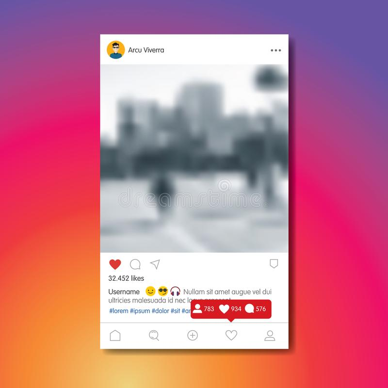 Social network post in colorful background. Social network post. Frame for your photo. Colorful background. Vector illustration stock illustration