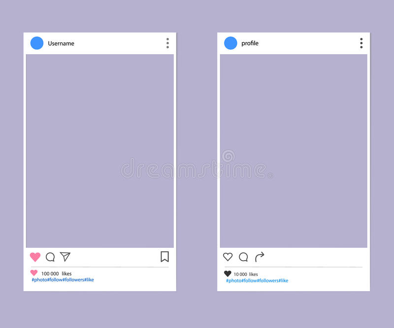 Social network post place. For photo mockup template smartphone vector illustration