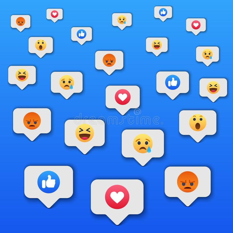Social network reactions icon background. Vector illustration royalty free illustration