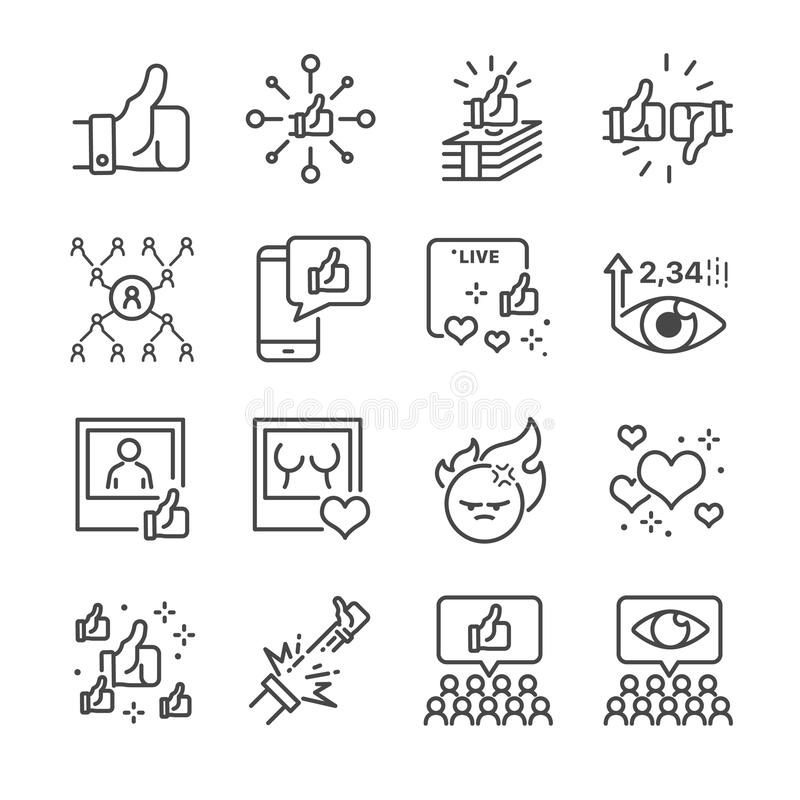 Social network related vector line icon set. Contains such icons as like, live broadcasting, share, number of views and more. vector illustration