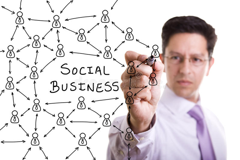 Social network scheme. Businessman drawing a social business network scheme on a whiteboard (selective focus stock photo