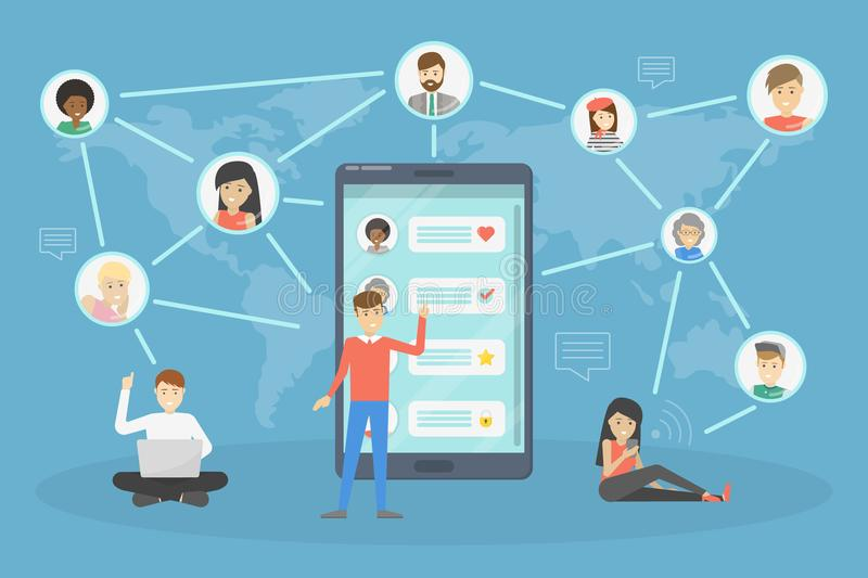 Social network scheme. Global connection between people. Abstract social network scheme. Global connection between business people. Idea of modern technology and royalty free illustration