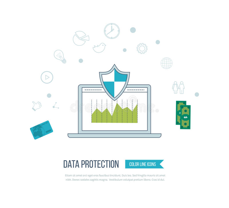 Social network security and data protection. Mobile marketing. Flat shield icon. Data protection concept. Social network security. Investment security. Mobile stock illustration