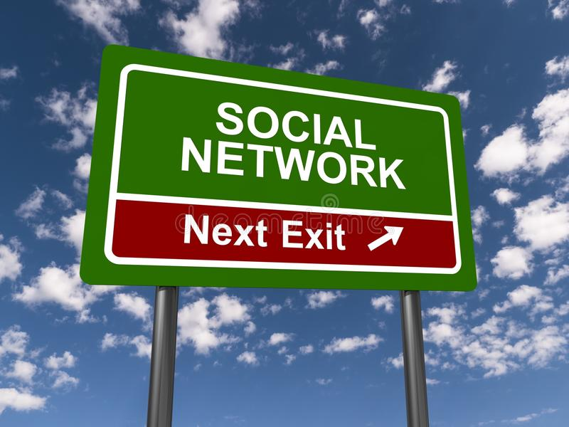 Social network sign. Green social network sign and sky in the background royalty free stock photography