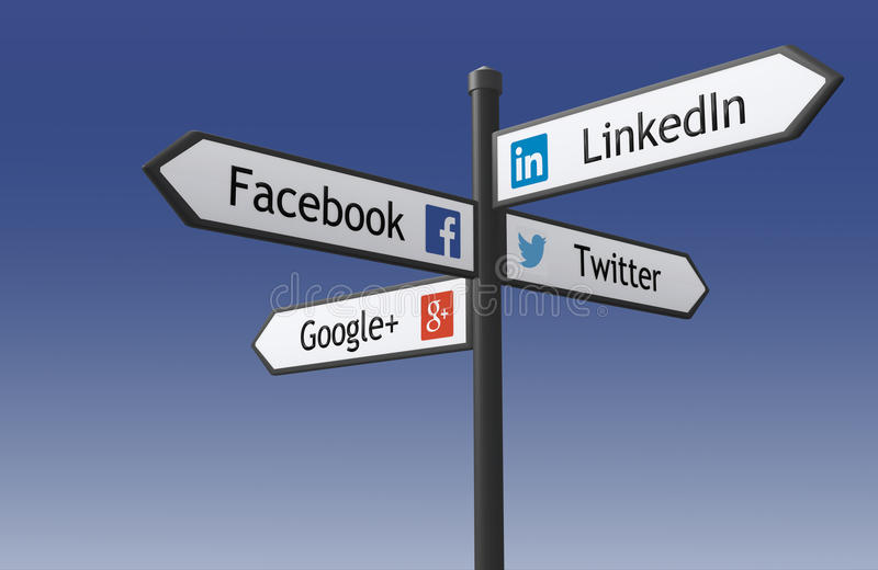 Social network signpost. Warsaw, Poland - May 17, 2015: 3d rendered illustration of the crossroad signpost indicating the directions to popular social networking stock illustration