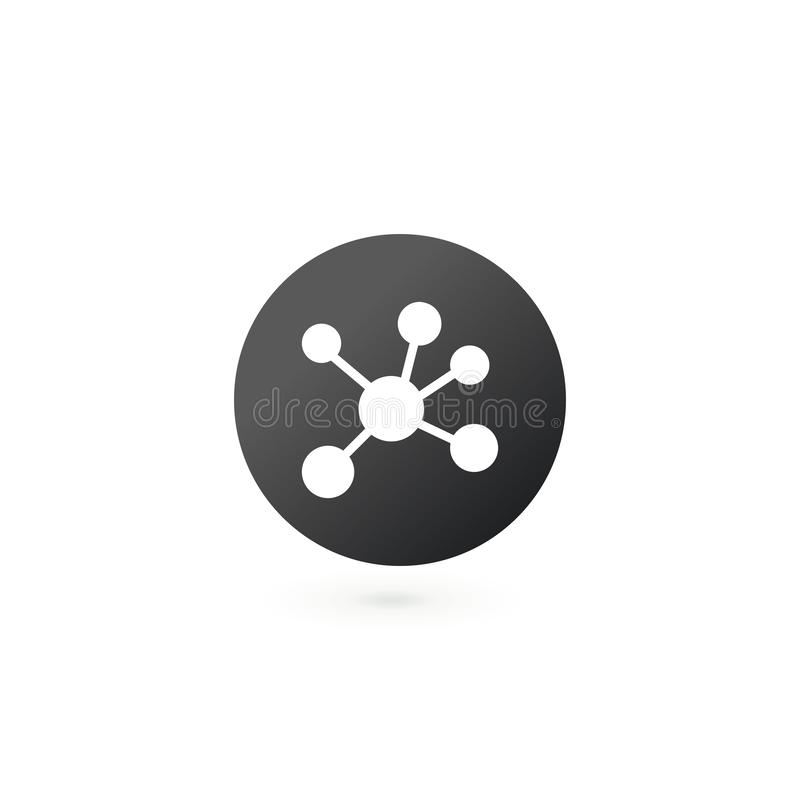 Social network. Single flat icon on the circle. Molecular or connection concept, Vector illustration isolated on white background. Social network. Single flat stock illustration