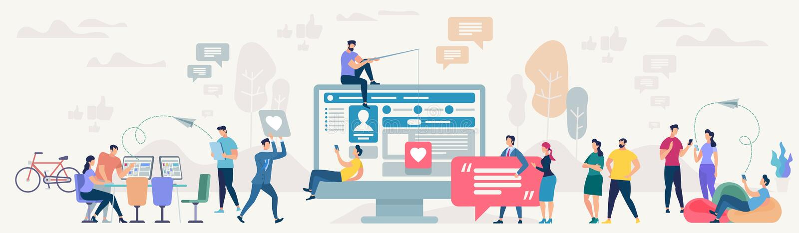 Social Network Site. Vector Illustration. Social Network Site and Teamwork Concept. Communication systems and Digital Technologies. Networking People and royalty free illustration