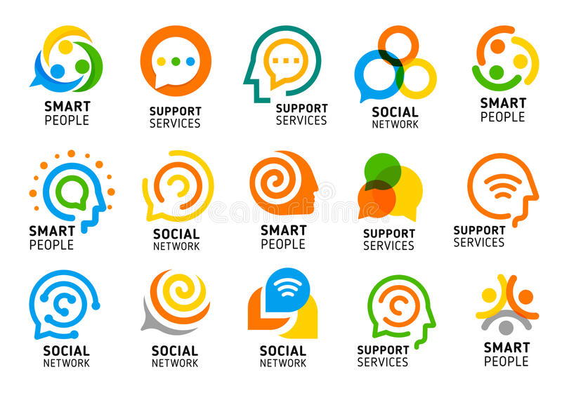 Social network for smart people with creative brain. Support services icon set. Colorful vector logo collection. stock illustration