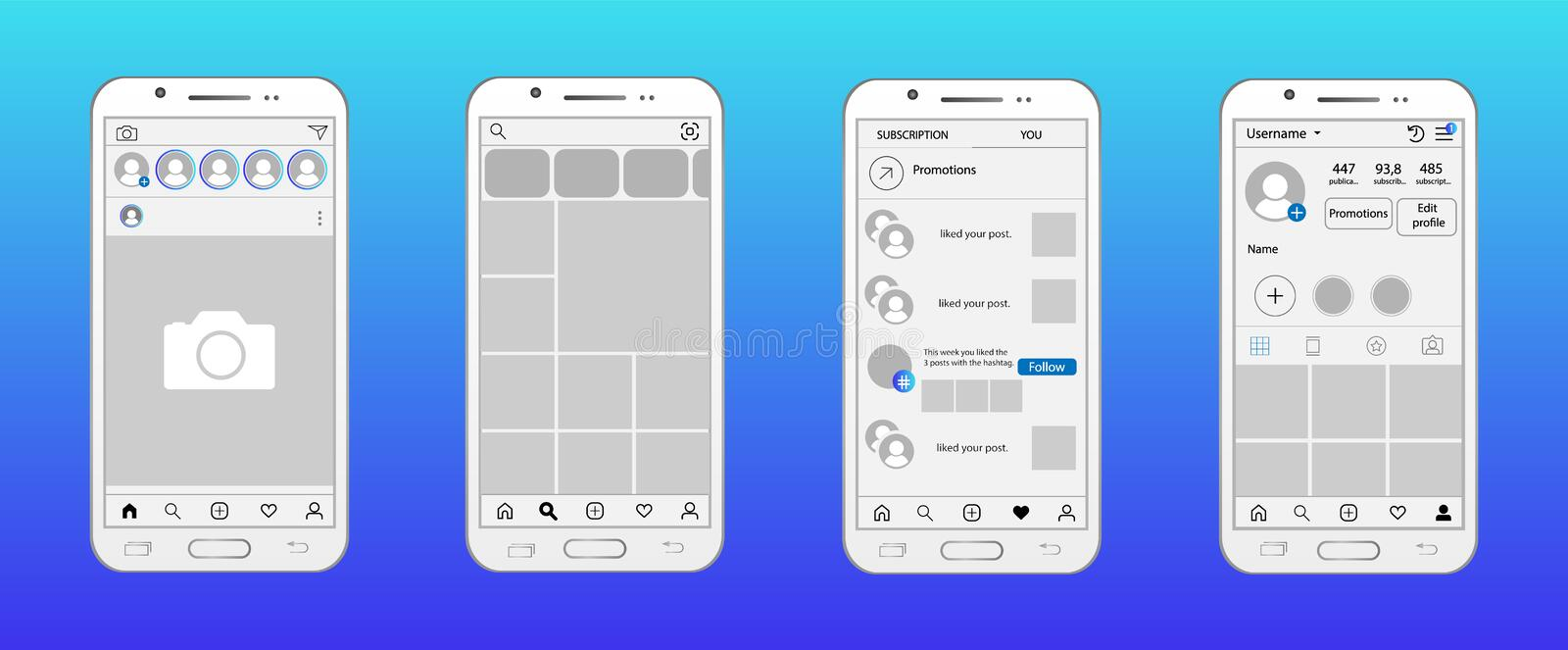 Social network in smartphone mockup. Home page, search and offer page, likes page, profile page. Social network in smartphone mockup, Home page, search and offer royalty free illustration