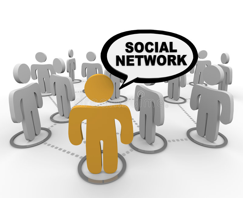Social Network - Speech Bubble. A social network depicted by figure in forefront speaking the words SOCIAL NETWORK